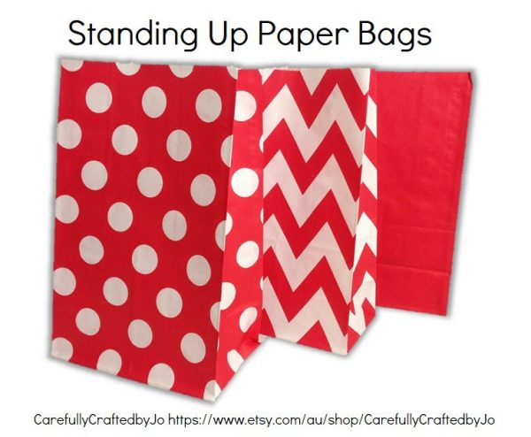 Set Of 12, 24 Red - Chevron, Polka Dots, Plain | SolidPaper Bag Flat Bottom Bags, Gift Party, Lolly, Favour, Wedding, Packaging, Loot