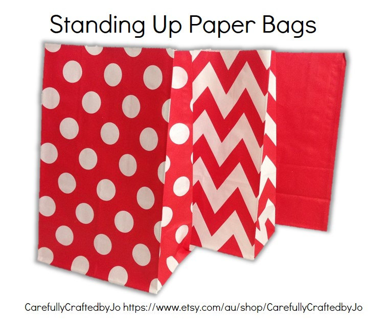 Set Of 12, 24 Red - Chevron, Polka Dots, Plain   SolidPaper Bag Flat Bottom Bags, Gift Party, Lolly, Favour, Wedding, Packaging, Loot