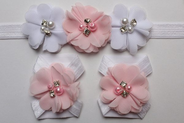 Set Of Baby Girl Infant Headband & Foot Flower Shoes Barefoot Sandals Footwear Free Postage