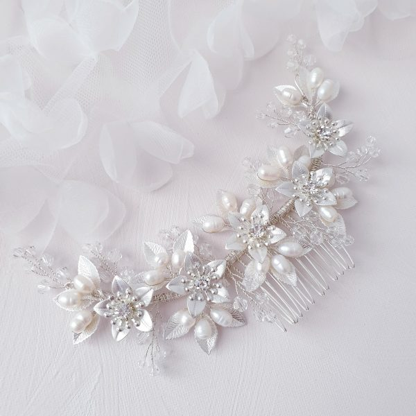 Signature Silver Bridal Flower Pearl Hair Comb | Wedding Haircomb Accessories| Crystal Hairpiece