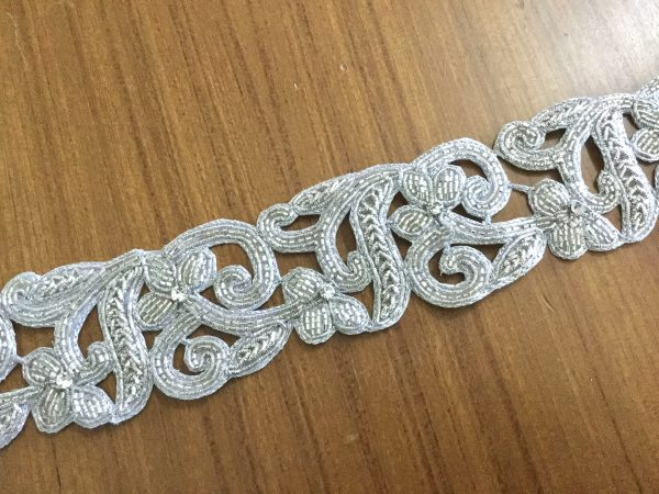 Silver Trim, Hand Embroidered Trim With Tube Beads, Zardosi Thread & Crystals