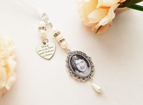 Single, Double Or Triple Wedding Bouquet Photo Memory Charm Locket Bridal Party Gift Keepsake Momento - Walk With Me, Always in My Heart