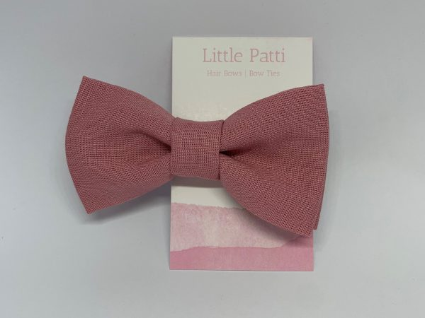 Soft Pink 100% Linen Children's Clip On Bow Ties, Kid's Fabric Accessories, Fashion