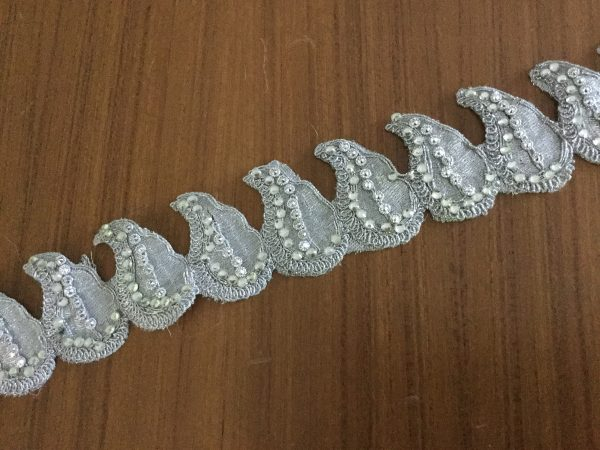 Sophisticated Silver Trim Embroidered With Metallic Threads & Crystal Dots