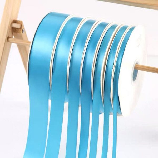 Turquoise Satin Ribbon Roll Wholesale • Christmas Gift Wrapping Wedding Party Favors Chair Decorations Tags Box Ribbons