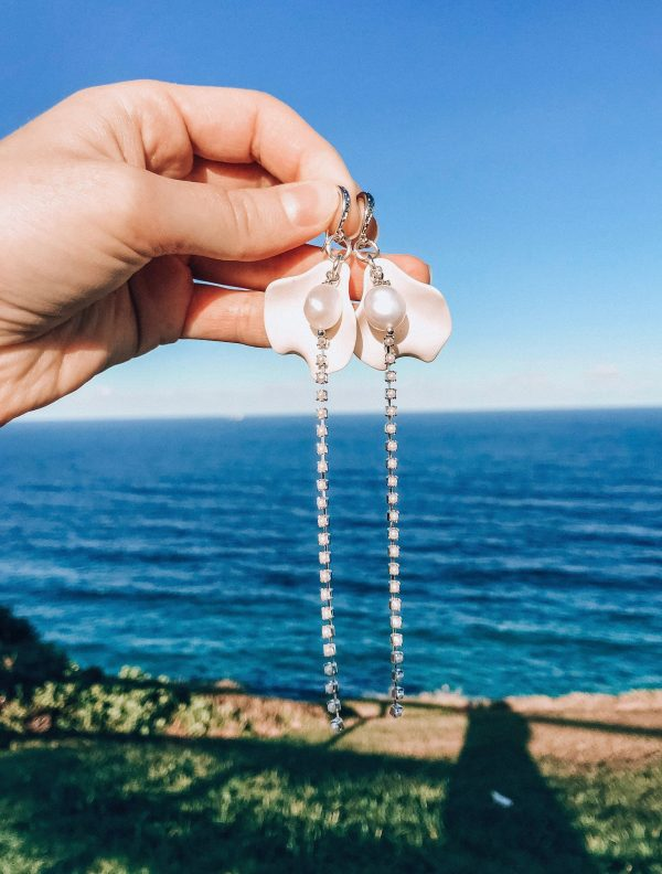 Wedding Pearl Earrings | Chain Pendant Earrings Floral Leaf With Natural