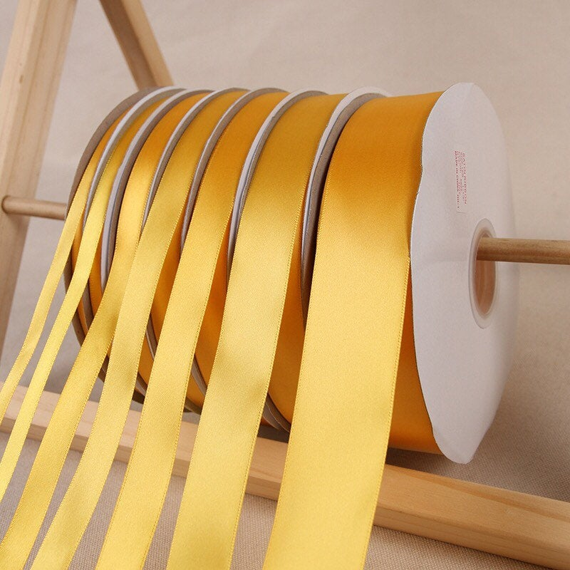 Yellow Gold Satin Ribbon Roll Wholesale • Christmas Gift Wrapping Wedding Party Favors Chair Decorations Tags Box Ribbons