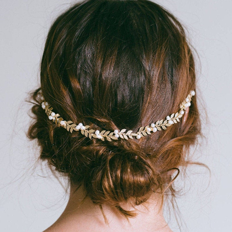 stunning Leaves On Gold Hair Vine - Weddings Bride Engagement, Bridal Accessories, Bride To Be, Bridal Hair, Pins, Piece