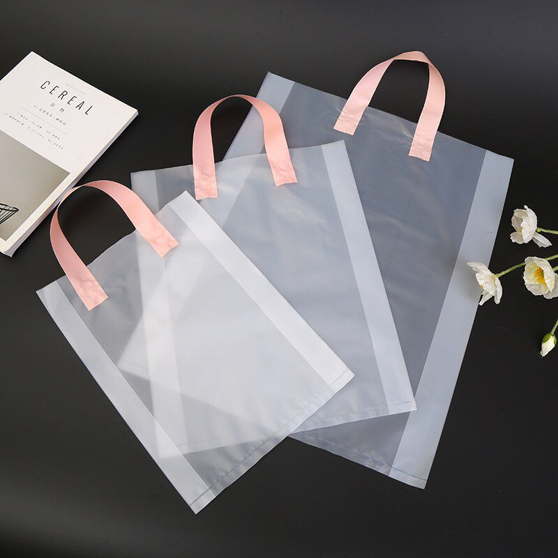 200x Frosty Matte Semi-Clear Pvc Plastic Wedding Favor Bag With Handle | Bridal Shower Birthday Party Gift Cosmetics Product Packaging