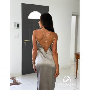 100% Natural Silk Long Dress For Evening, Dating, Party, Cocktail, Silver, Gray, Casual, Bridesmaids, Gift Mother, T-Shirt, Trapeze, Wedding