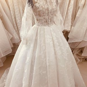 100% Vintage Style Wedding Dress Made To Order, Unique White Lace Bridal Gown Boho Hippie