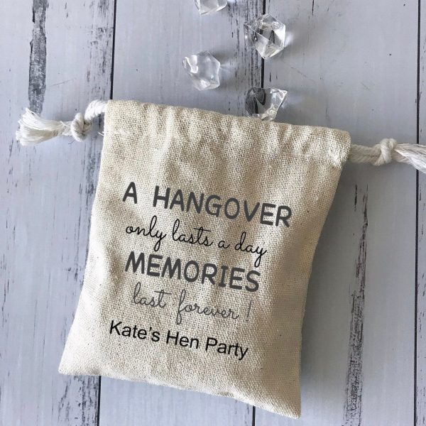 100x Personalised Cotton Linen Pouch Bags   Hen Party Hangover Kit Favor Wedding Birthday Shower Gift Bag Business Logo Packaging