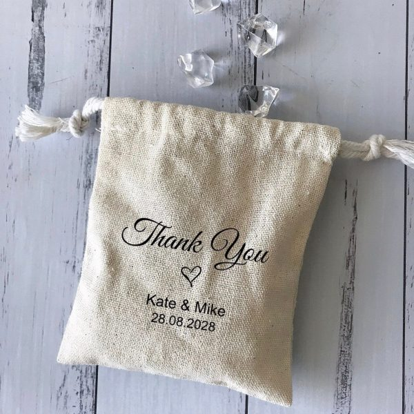 100x Personalised Cotton Linen Pouch Bags | Wedding Monogram Favor Christening Baby Shower Party Gift Bag Business Logo Packaging