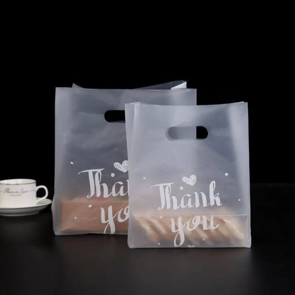 100x Thank You Matte Pvc Plastic Carrying Bags   Wedding Party Baby Shower Favour Cosmetics Business Promotion Bag Christmas Gift