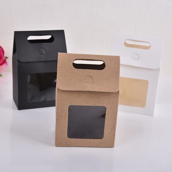 120 Clear Window Carrying Bag Box   Wedding Favor Party Treat Baker Candy Shop Cookie Packaging Homemade Product Packing
