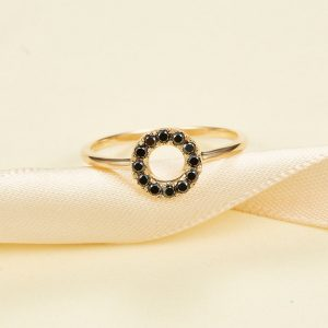 14K 18K Solid Gold Black Diamond Circle Ring, Stacking Ring Wedding Band, Ring, Anniversary Gift, Personalized Ring, Purplemay-R054