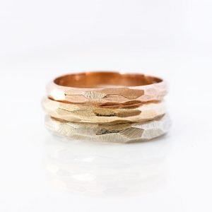 14K Gold Fine Facets Ring, Wedding Faceted Textured, Rustic, His & Hers Women's Band, Mens Band