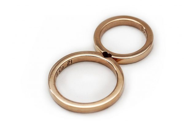 14K Rose Gold Wedding Ring Set, Promise Rings For Couples, Wedding Men, Simple Matching Heart Band