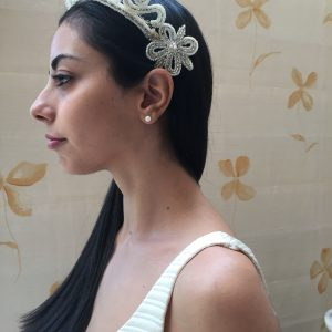 1930S 40S Silver & White Beaded Scroll Tiara Perfect Wedding Or Party Headpiece