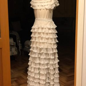 1930S Or Late 20S Cotton Voile & Lace Ruffled Wedding Gown