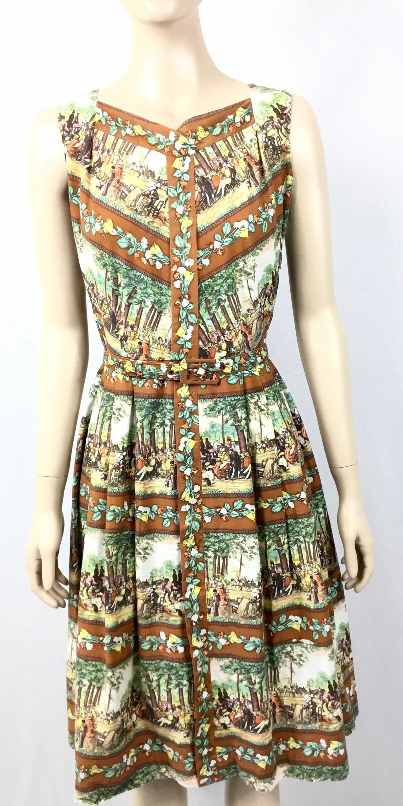 1950S Cotton Equestrian Print Dress. Belted. Small Size Dress, Sleeveless, Tailored 50 S Dress