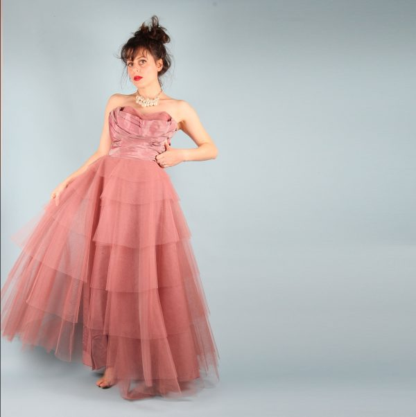 1950S Vintage Prom Dress // Dusty Rose Taffeta & Netting Ball Gown Fred Perlberg Two Tone Authentic Dance Size Xs