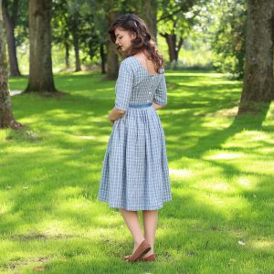 1950's Dress, Casual Wedding Blue Linen Pin Up Cocktail Swing Plus Size Clothing, Party Pleated