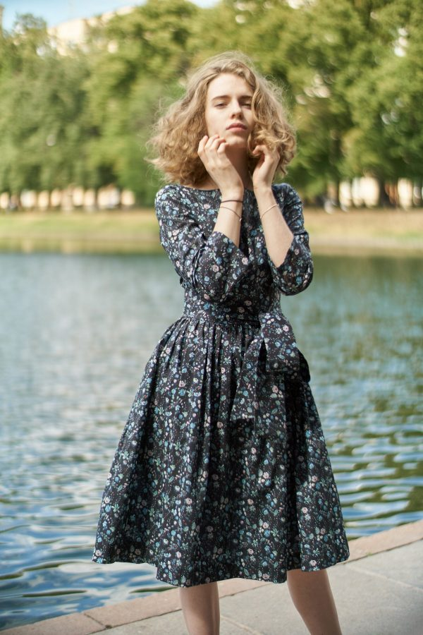 1950's Dress, Liberty Print Flare Bridesmaid Vintage Style Pleated Floral Vlv Loose