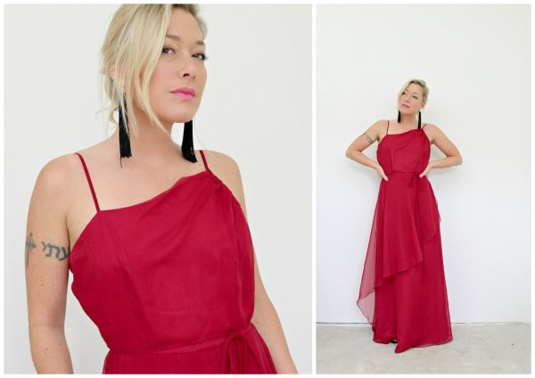 1960S House Of Bianchi Cranberry Gown // Size Small To Medium 29 Waist