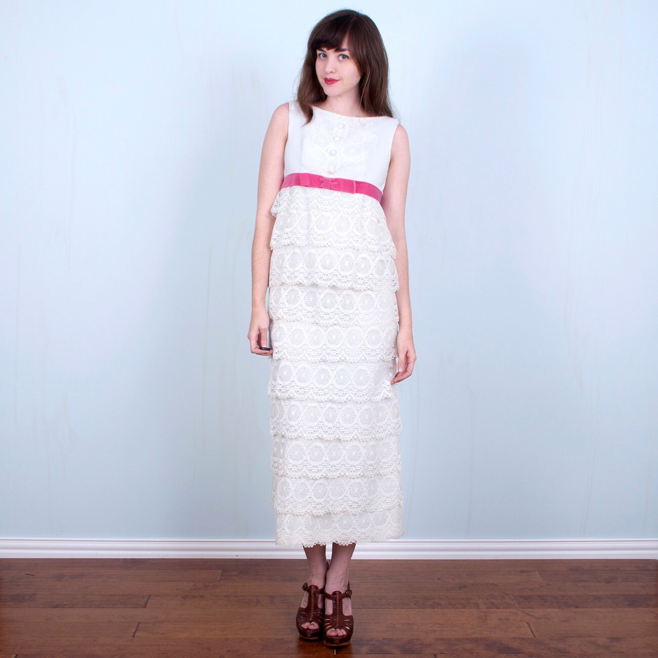 1960's Wedding Dress White Lace Tiered Ruffles Empire Waist Pink Velveteen Bow/Small Xsmall