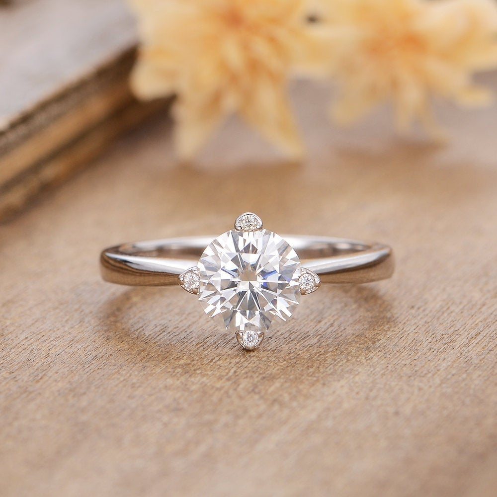1Ct Solitaire Moissanite Engagement Ring Unique Diamond Prong Set Wedding White Gold Bridal Anniversary Gift