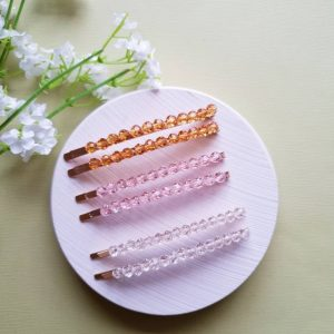 2 Pack Golden Hair Clip With Crystal Beads | Colourful Gold Wedding Barrette Clips |Korean Accessories Beaded Slides