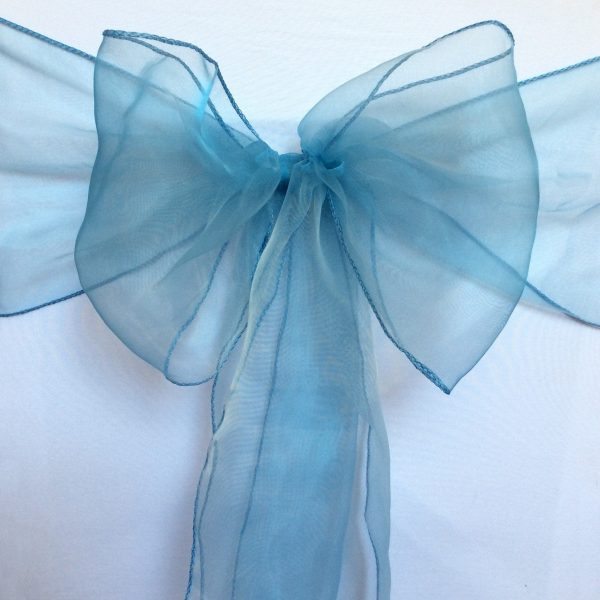 25-150 Dusty Blue Organza Chair Sashes Ties Wedding Banquet Ceremony Feast 21st Birthday Anniversary Engagement Party Venue Decoration