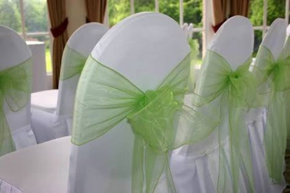 25-150 Lime Green Organza Chair Sashes Bows Ties Ribbon Wedding Banquet Ceremony Feast Birthday Anniversary Venue Sheer Decoration