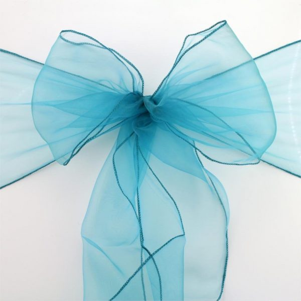 25-150 Teal Blue Organza Chair Sashes Bow Ties Ribbon Wedding Engagement Birthday Party Reception Ceremony Venue Home Decoration