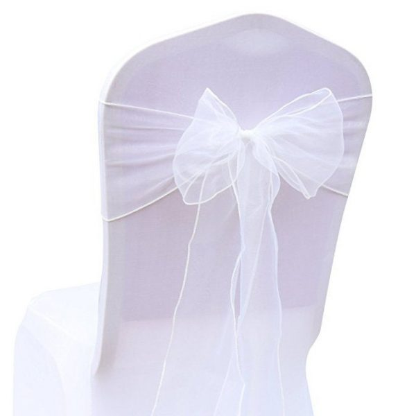25-150 White Chair Sashes Bow Ties Ribbon Wedding Engagement Birthday Anniversary Party Reception Ceremony Bouquet Venue Decoration