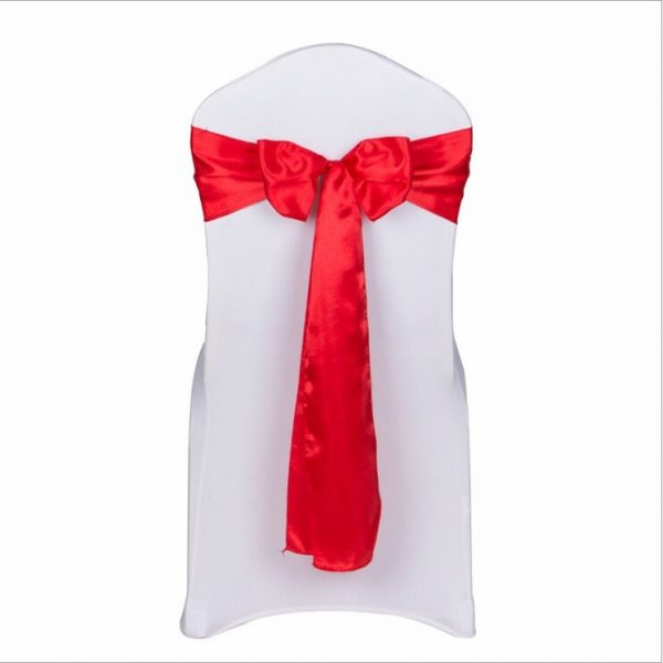 25-200Pcs Red Satin Chair Sashes Bows Ribbon Ties Table Runner Wedding Engagement Birthday Christmas Dinning Table Decoration