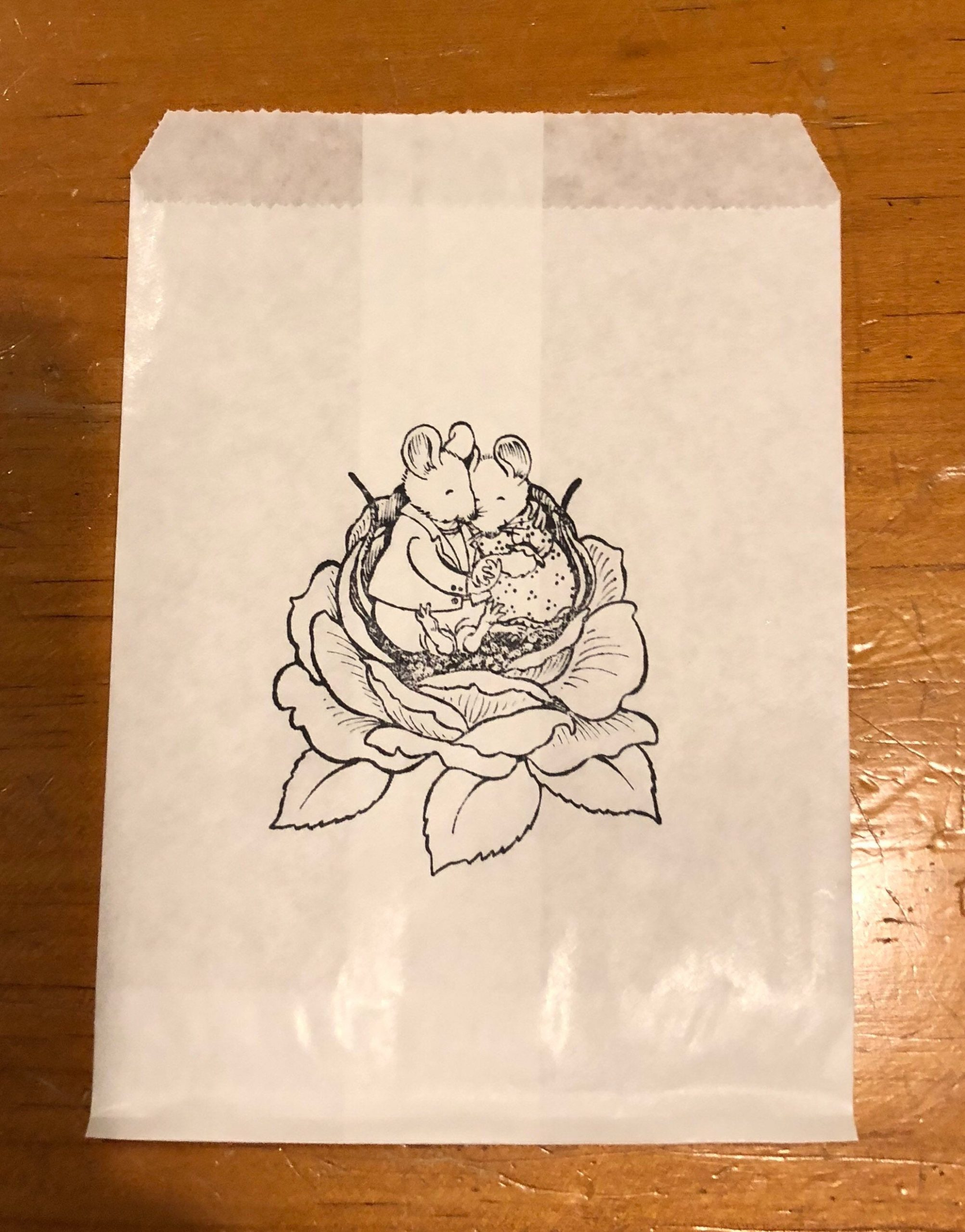 25 X White Paper Lolly Sweet Candy Bag - Hand Stamped Wedding