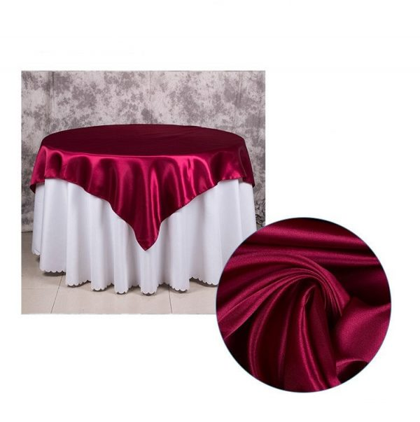 5Pcs Burgundy Purple Green White Red Satin Table Cloth Overlay Top Cover Wedding Engagement Anniversary Birthday Reception Ceremony Decor