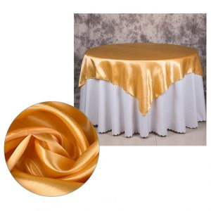 5Pcs Gold Satin Tablecloth Overlay Top Cover Wedding Engagement Anniversary Birthday Reception Ceremony Bouquet Christening Baptism Decor