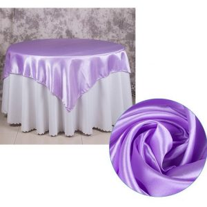 5Pcs Lilac Satin Tablecloth Overlay Top Cover Wedding Engagement Anniversary Birthday Reception Ceremony Bouquet Baptism Table Decoration