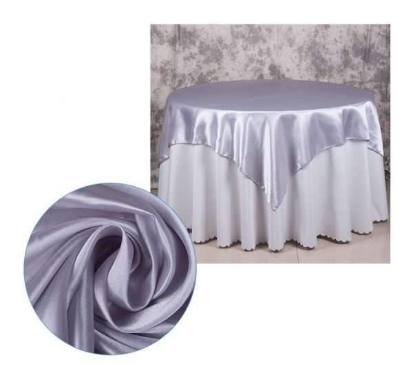 5Pcs Silver Satin Tablecloth Overlay Top Cover Wedding Engagement Anniversary Birthday Reception Ceremony Bouquet Baptism Table Decoration