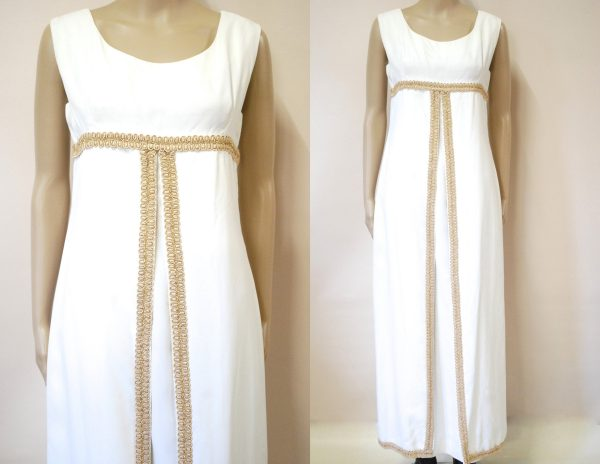 60S Embroidered Bridal Wedding Dress, Vintage White Gold Lace Layered Vtg 1960S Size S
