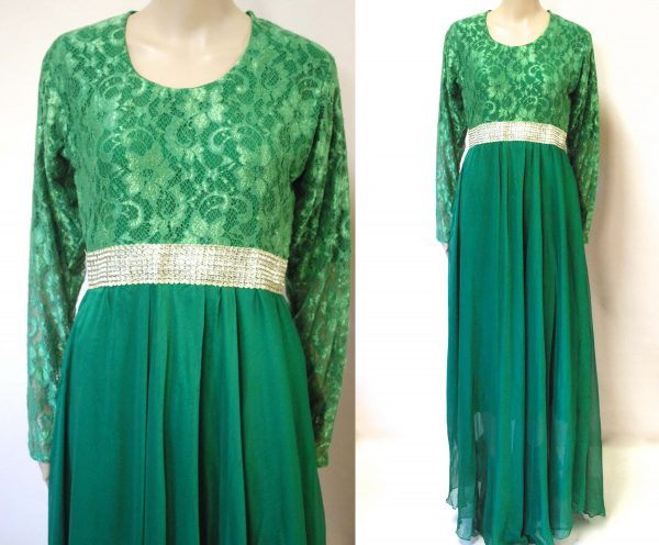 70S Emerald Green Full Length Lace Dress, Vintage Dramatic Flowing Silver Sequin Waistband Retro Layered Vtg 1970S Size S