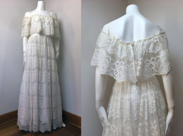 70S White Lace Wedding/Prom Gown_Off The Shoulder_Sheer Ruffle_ Henri Josef_Size 6-8