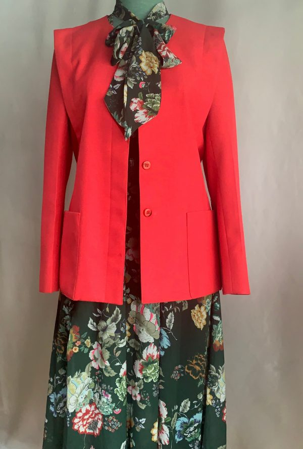 80S Chinese Red Boxy Suit Blazer Jacket Coat/Fitted Style/Daily Wear/Office Work Wear/Wedding New Year Christmas Occasions Wear/Size S-M
