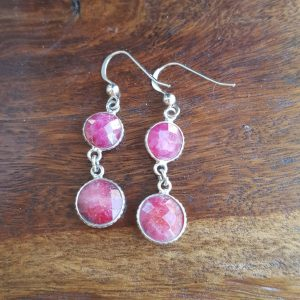 925 Sterling Silver Ruby Drop Dangle Earring   Wedding Bridesmaid Gift For Her