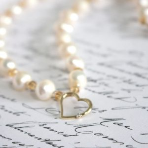 9K Gold Diamond Heart Pendant On Freshwater Pearl & Crystal Necklace, Wedding, Mother's Day, Unique Gift For Her, Birthday, Wife Valentine