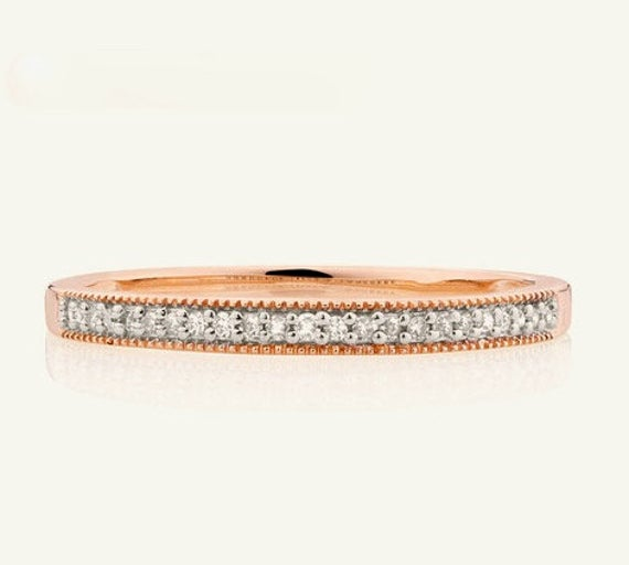 A Classic 10K Rose Gold Lady's Natural Diamond Channel Set Wedding/Anniversary Band Jewellery Size 101/4 Or U