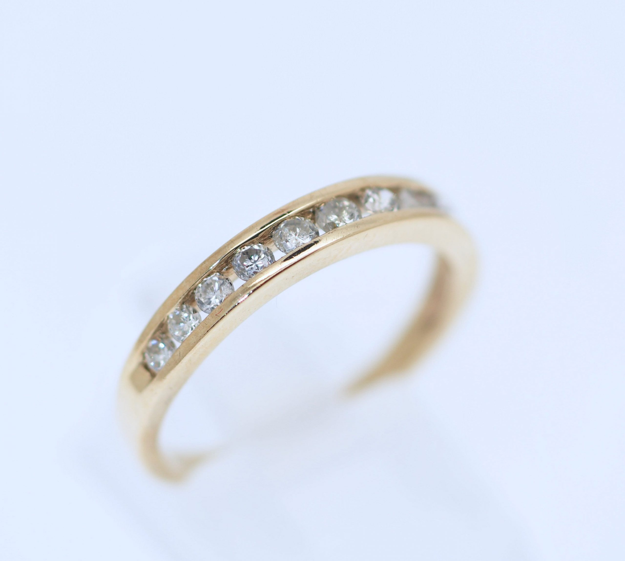 A Classic 9Kt Yellow Gold Lady's Natural Diamond Channel Set Wedding/Anniversary/stackable Band Jewellery .50Ct Size 8 P